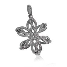 Pave Diamonds Flower Shaped Pendant