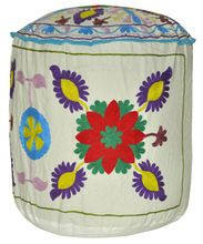 Embroidered Cotton Round Ottoman Cover