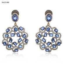 Blue Sapphire and Pave Diamond Dangle Earrings