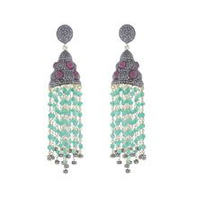 Green Onyx Ruby Earrings