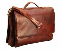 Brown leather sling cross body messenger bags