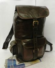 Hand Made Brown Leather rucksack backpack travel bag's