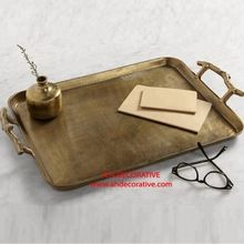 Gold Metal Tray With Handle