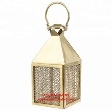 Small Antique Brass Rattan Candle Lantern