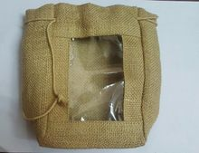 Jute Pouch Bag with PVC window