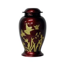 Flying Dove Maroon Brass Cremation Urn