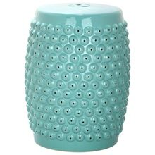 Glossy Blue Dotted Garden Stool Chair