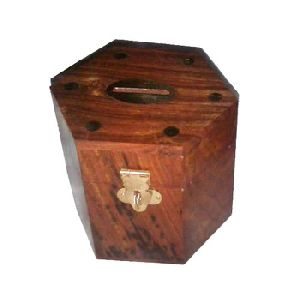 Handcrafted Wooden Box Money Bank
