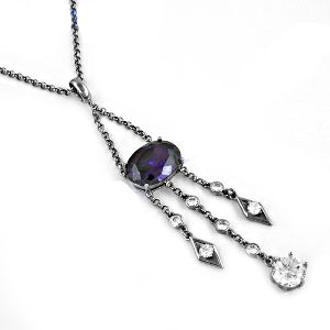 Amethyst Zircon And Cubic Zircon Gemstone necklace