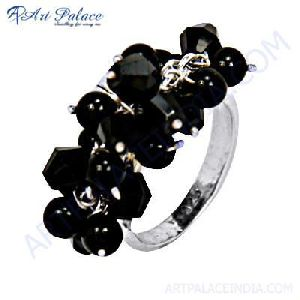 Black Onyx Gemstone Silver Ring
