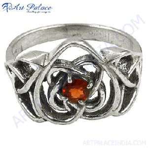Celtic Style Garnet Gemstone Silver Ring