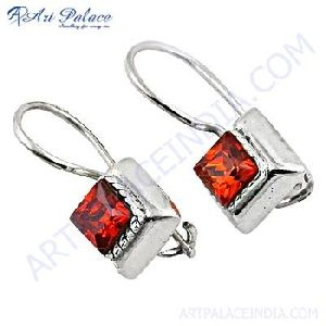 Charming Orange Silver Earring