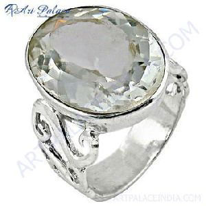 Crystal Gemstone Silver Ring