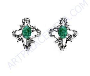 Cubic Zircon and Emerald Silver Earring