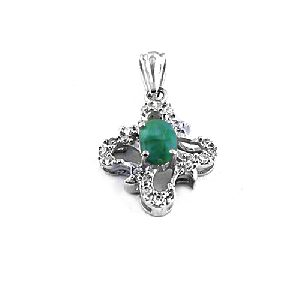 Cubic Zircon and Emerald Silver Pendant
