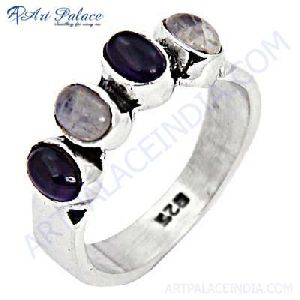 Fashionable Amethyst and Rainbow Moonstone Gemstone Silver Ring