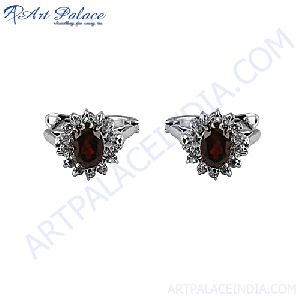 Garnet and Cubic Zircon  Earring