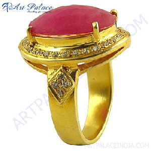 Gold Plated CZ and Glass Field Ruby Silver Ring