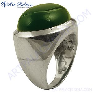 Hand Crafted Green Onyx Silver Ring