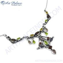 Handcrafted Multi Gemstone Silver Necklace