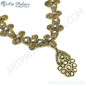Heart Shape Style Victorian Multi Gemstones Necklace