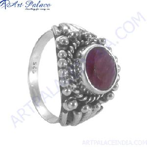 Synthetic Ruby Silver Ring