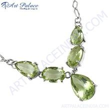 Unique Handmade Green Amethyst Silver Necklace