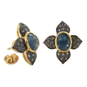Victorian Diamond and Sapphire Gold Plated Silver Earrings