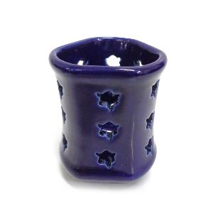 Blue Ceramic Small Candle T Lite Holder