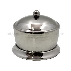 Brass Powder Pot With Lid Nickel Plated