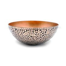 Copper Plated Mosaic Iron Round Bowl
