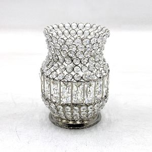 Iron Crystal Round Candle Votive Holder