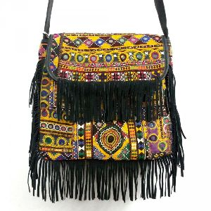 Afghan Leather Bag with Frills