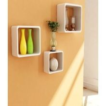 3 Shelves Square Wooden Rounded Floating Cube Wall Storage Shelves White