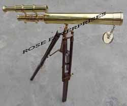 Brass Double Barrel Telescope with Wooden Tripod Stand