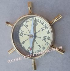 Brass Marine Ship Wheel Desk Compass