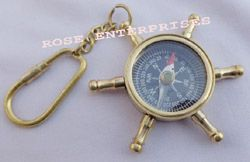 Brass Wheel Compass Key Chain