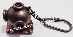 Copper Antique Diving Helmet Key Chain