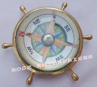 Nautical Brass Ship Wheel Open Face Compass