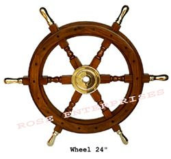 Wooden Ship Wheel W Brass Handle