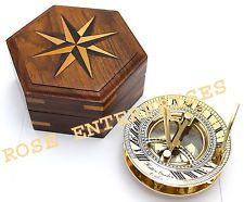 Brass Sundial Compass with Wooden Box