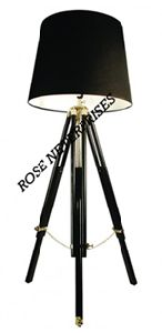 Nautical Tripod Floor Lamp with Black Shade