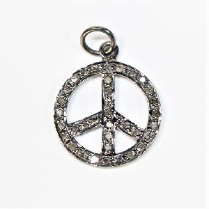 925 solid silver diamond black rhodium peace charms pendant