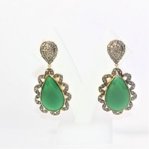 GREEN ONYX ONEX DIAMOND POLKI 925 SILVER GOLD PLATED BLACK HANDMADE EARRING