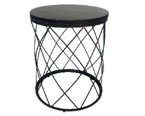 Iron and Wooden Material Side Stool