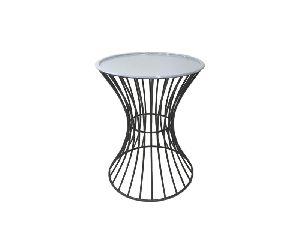 Iron Side Table with Aluminum Top