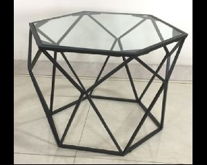 Metal and Glass Side Table For Drawing Room