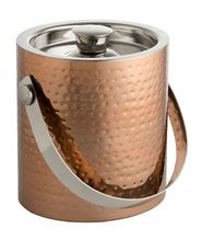 Copper double walled stainless steel ice bucket with tongs