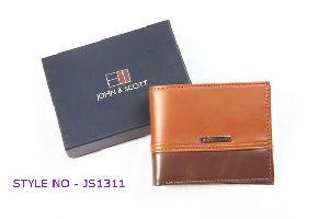 JS1311 Mens Light Brown Leather Wallet