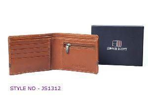 JS1312 Mens Light Brown Leather Wallet